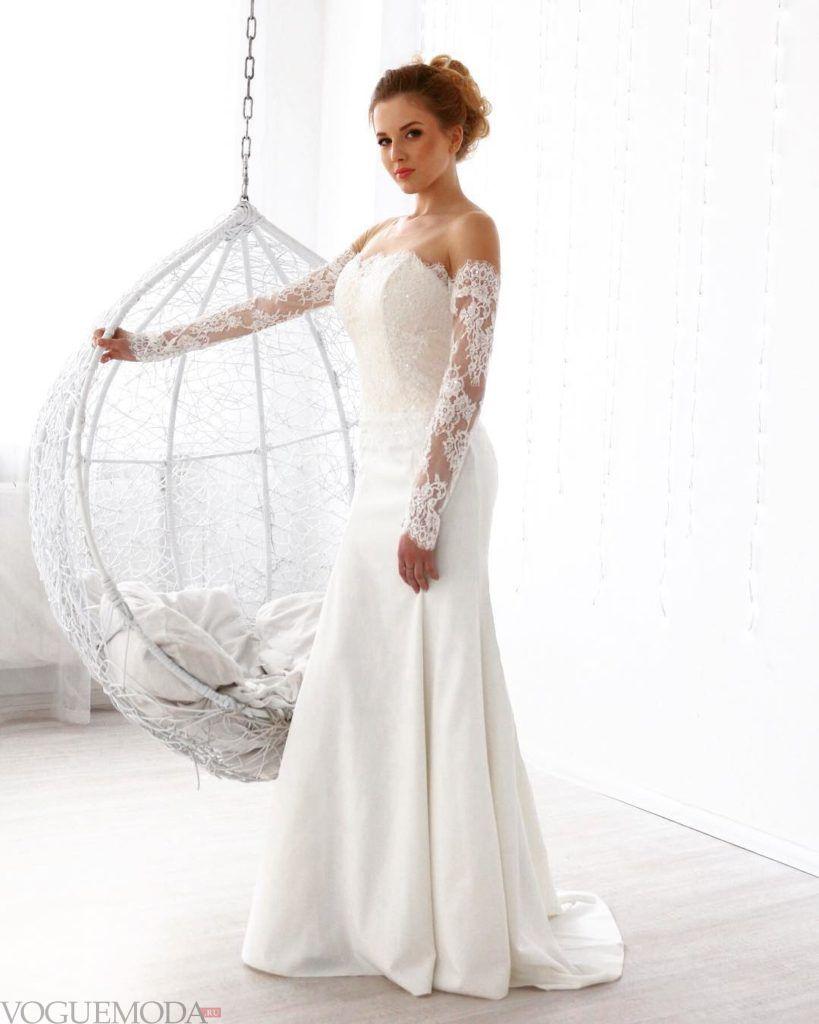 свадебное платье с открытыми плечами кружево