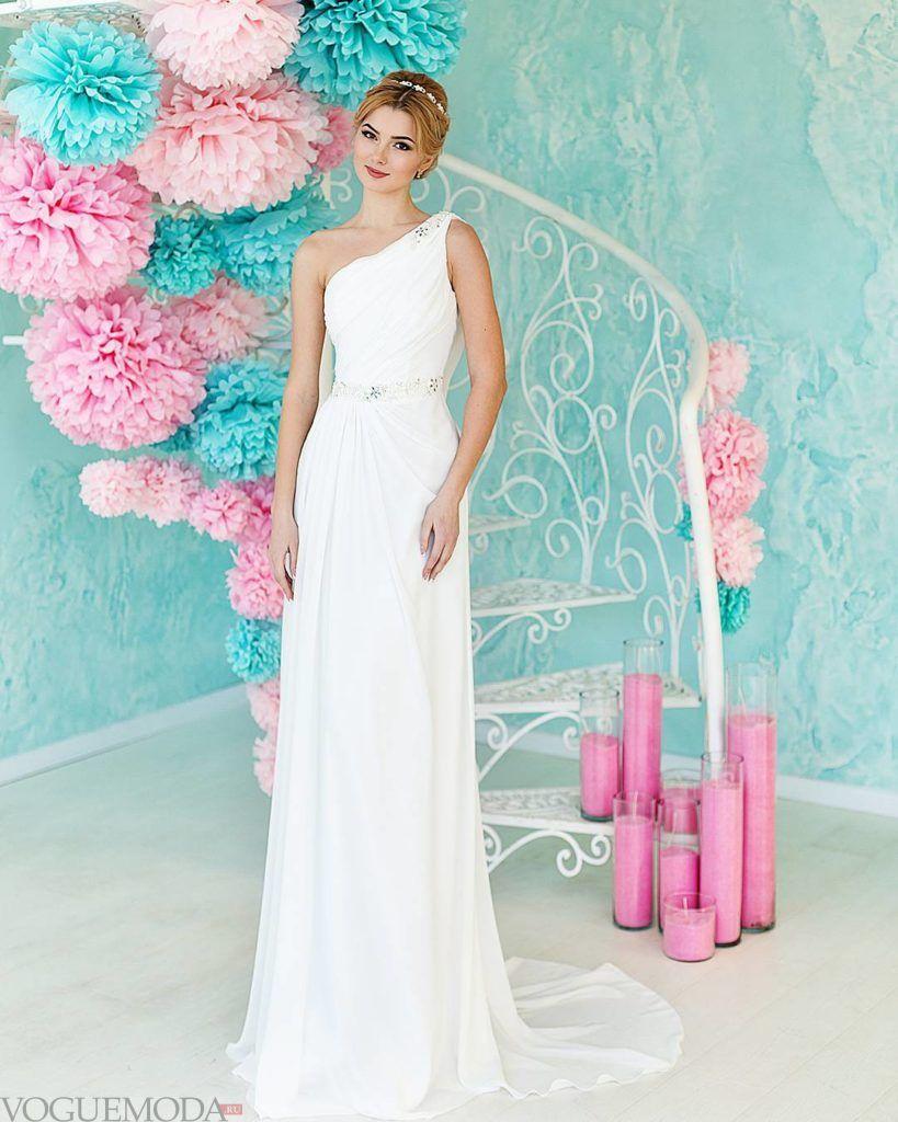 тенденции свадебных платьев: на одно плечо