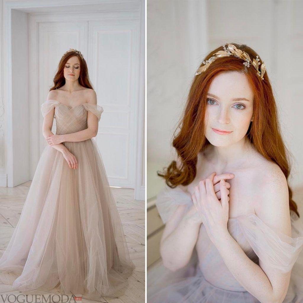 свадебное платье с открытыми плечами беж