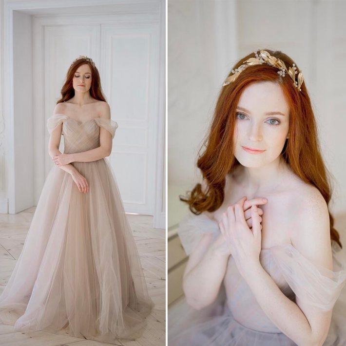 свадебные платья: с открытыми плечами беж
