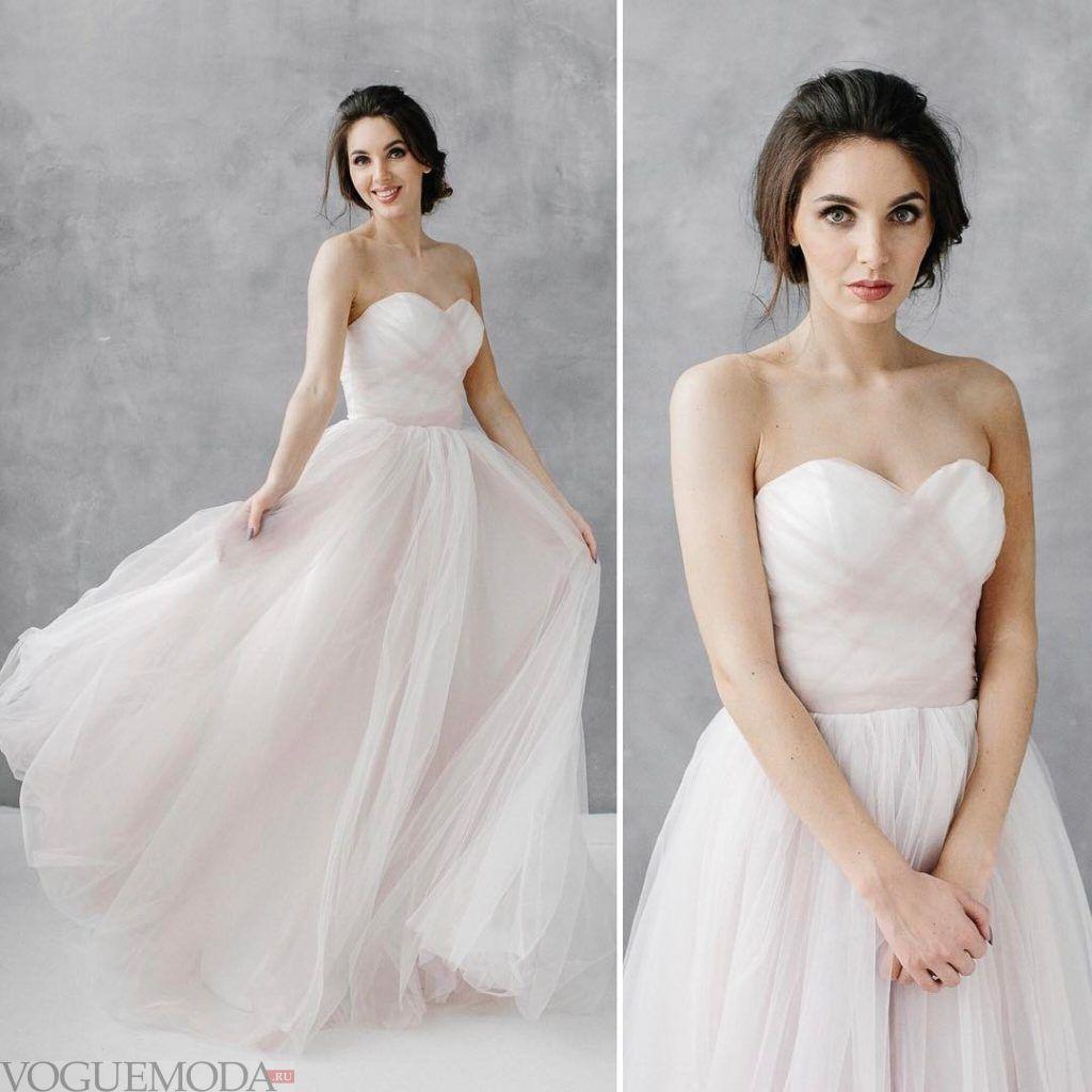свадебное платье с открытыми плечами с переплетом
