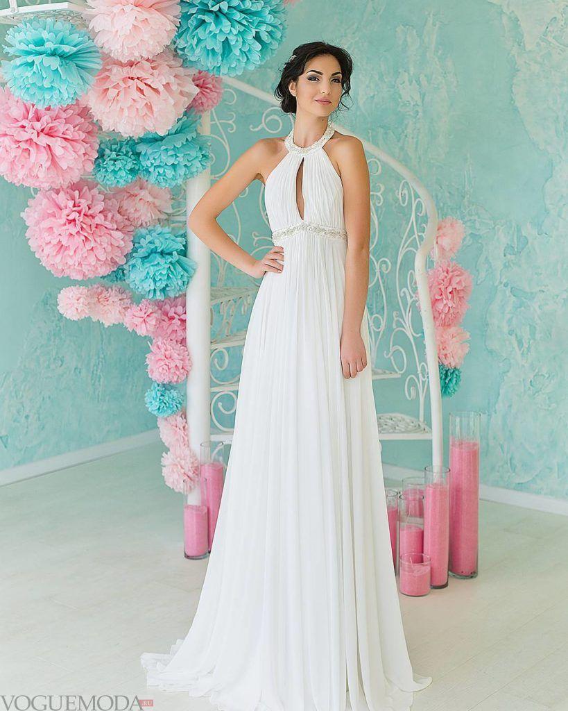 свадебное платье в греческом стиле с вырезом