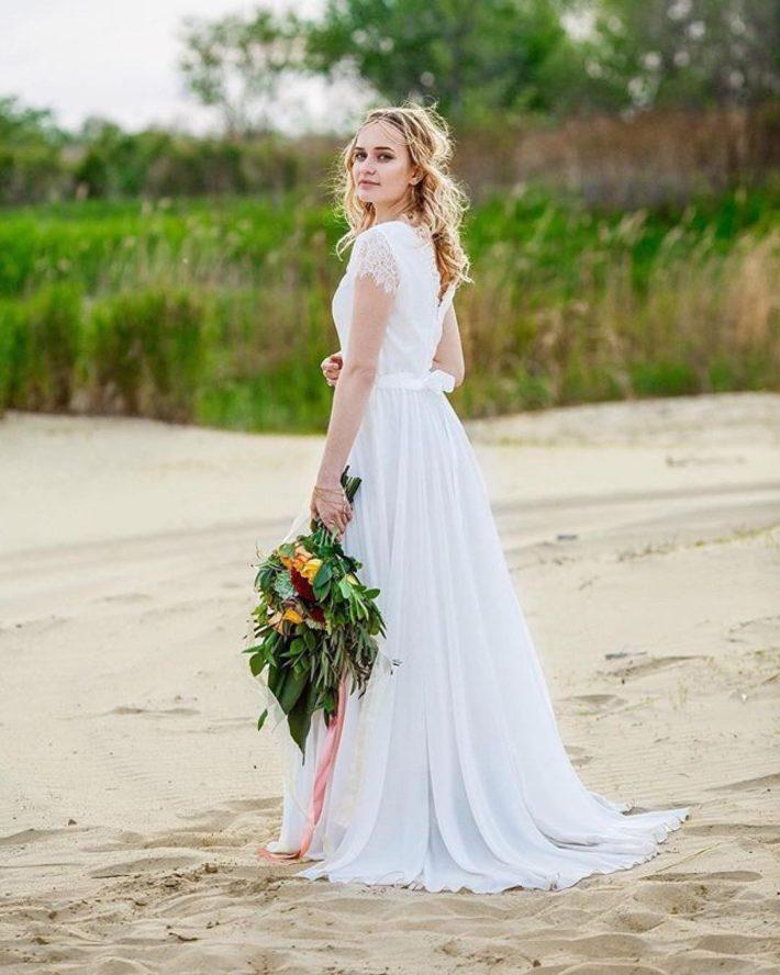 свадебное платье небесного цвета