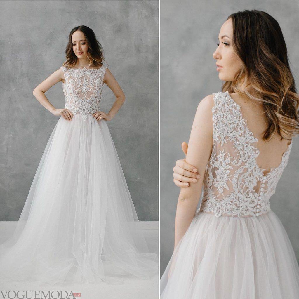 свадебное платье принцесса с кружевом