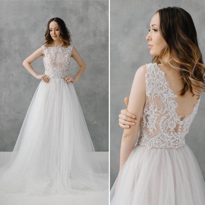 фото свадебных платьев: принцесса с кружевом
