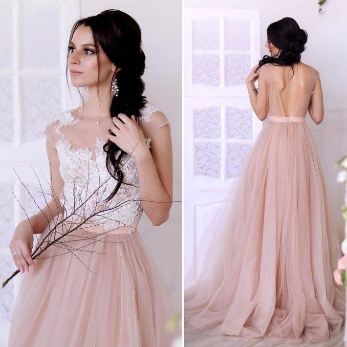 свадебное платье принцесса нюдовое