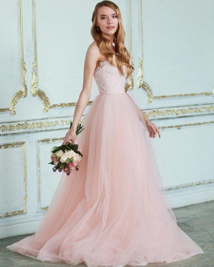 нежно-розовое свадебное принцесса пудра