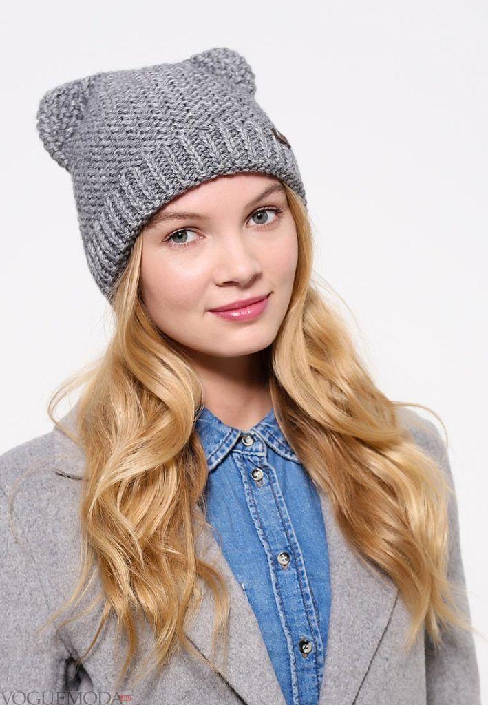 шапка осень зима серая