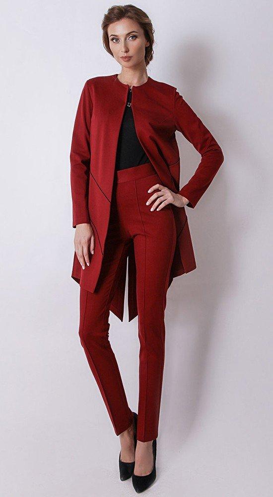 брючный костюм бордовый