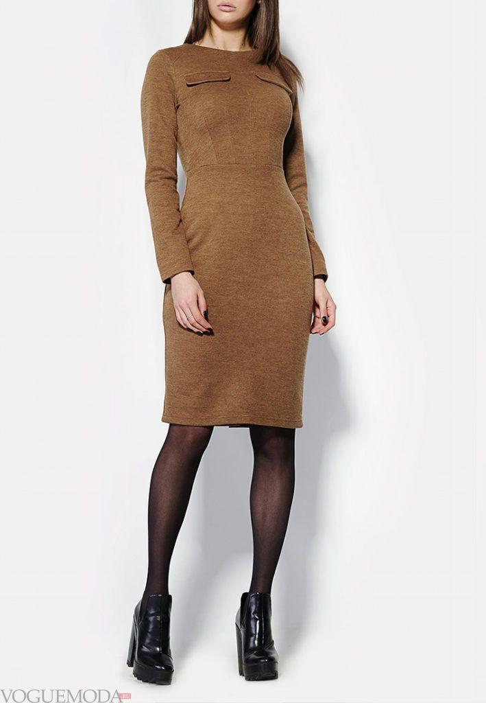 платье осень зима коричневое