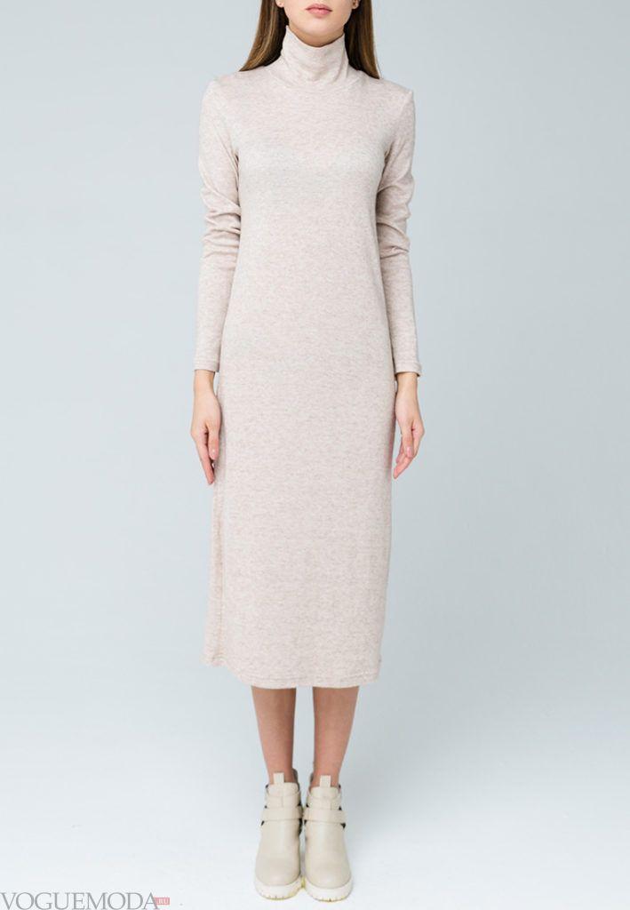 платье осень зима молочное