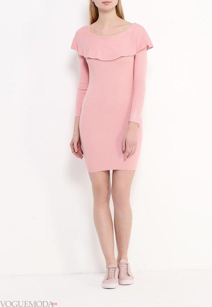 платье осень зима розовое