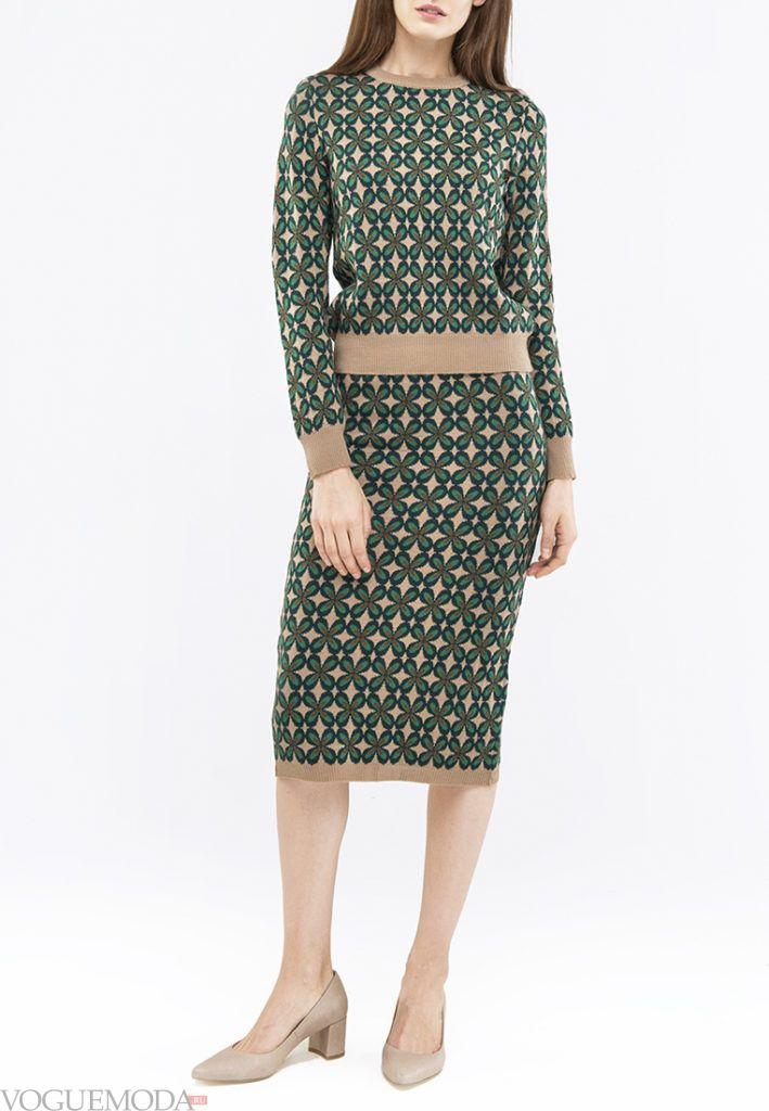 юбка осень зима с принтом