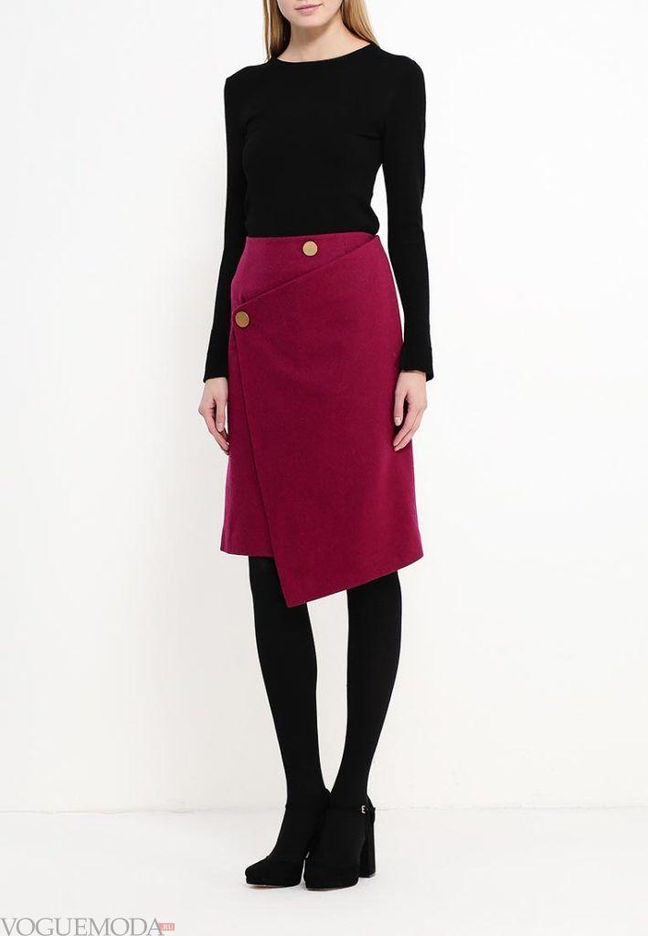 юбка осень зима бордо