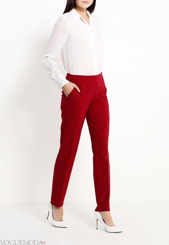 брюки осень зима красные