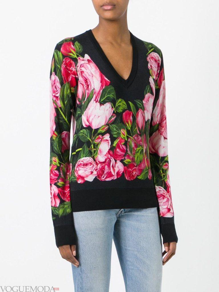 свитер осень зима с принтом