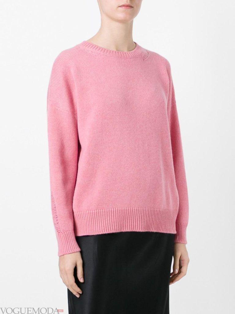 свитер осень зима розовый