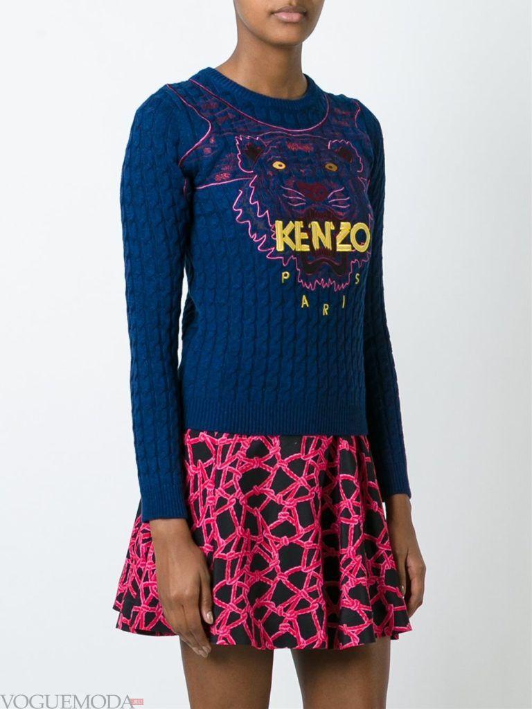 свитер осень зима с декором