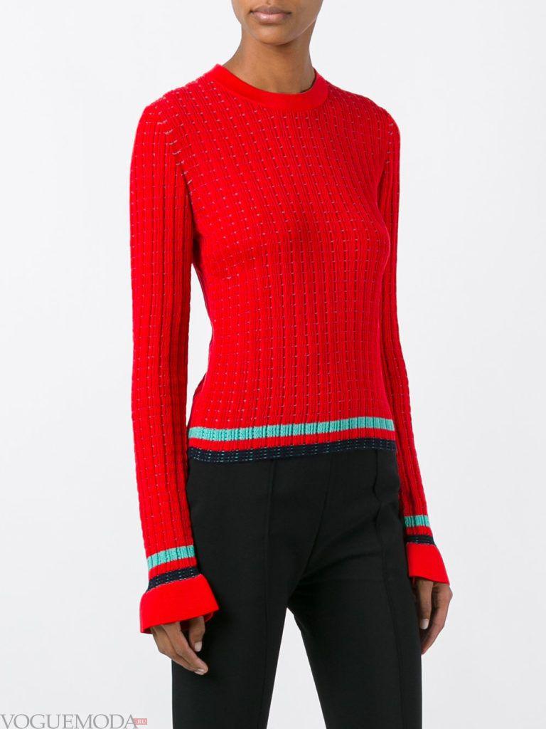 свитер осень зима красный