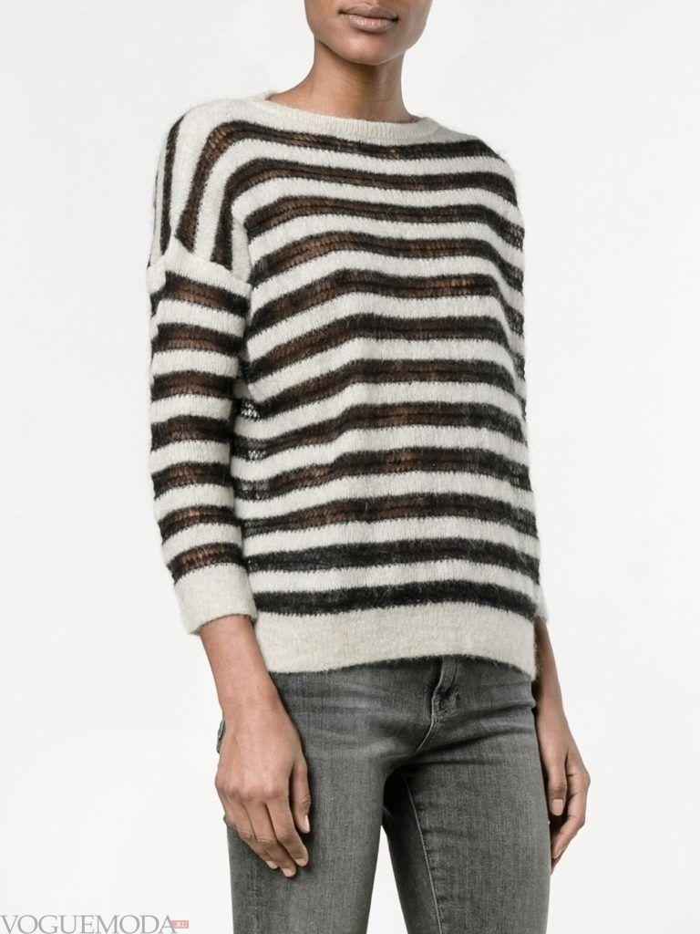 свитер осень зима полосатый