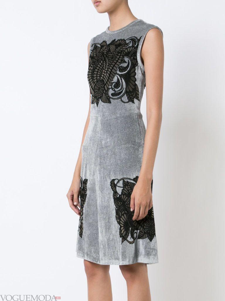 платье с кружевом осень зима