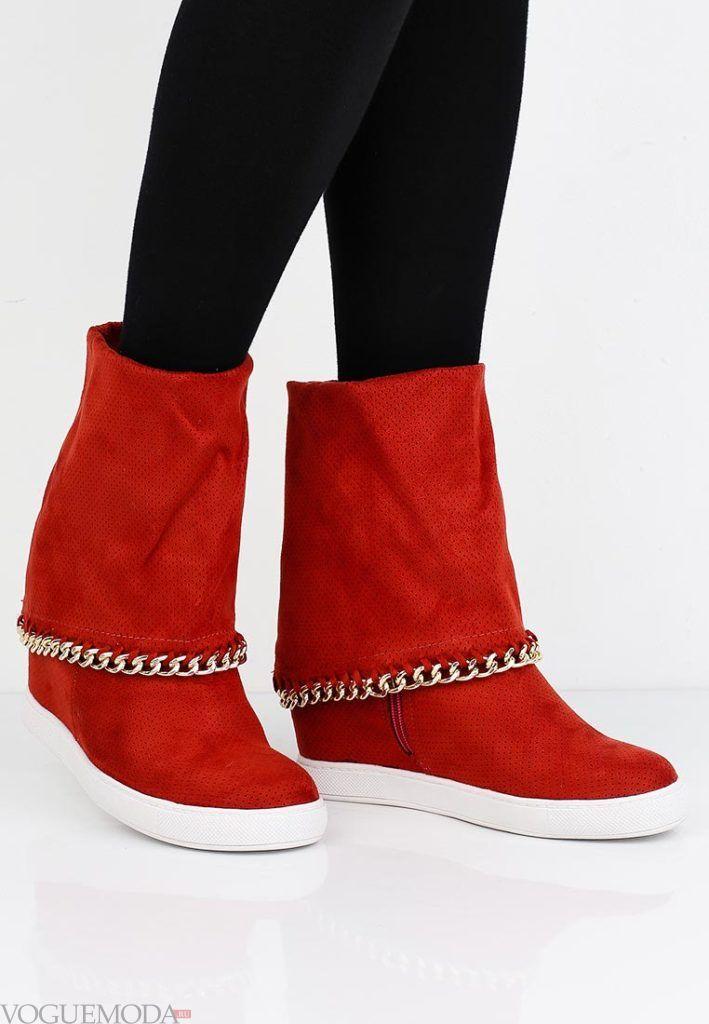 ботинки осень зима красные