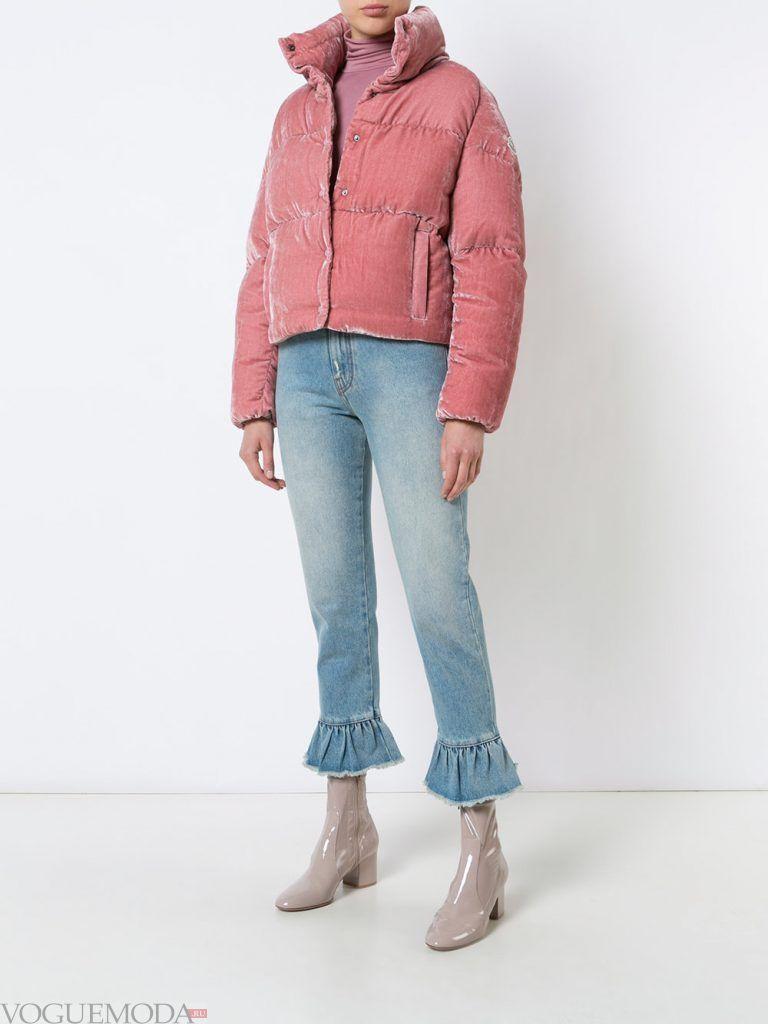 модный пуховик розовый