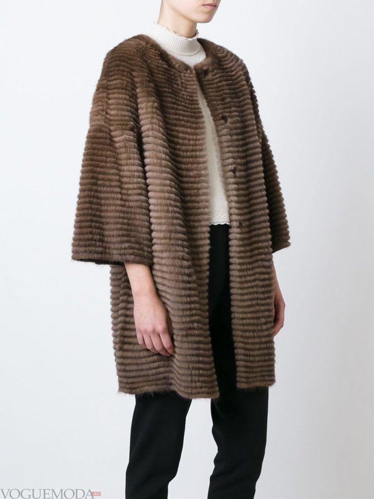 Верхняя одежда осень зима 2019 2020: модная шуба коричневая
