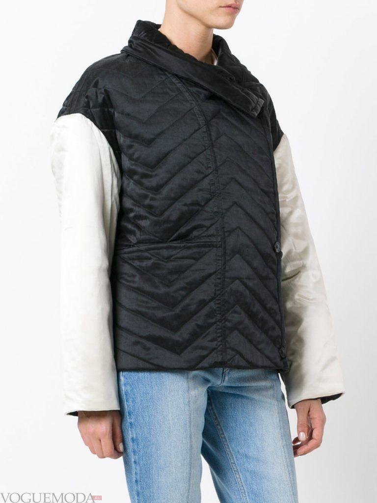модная стеганая куртка двухцветная