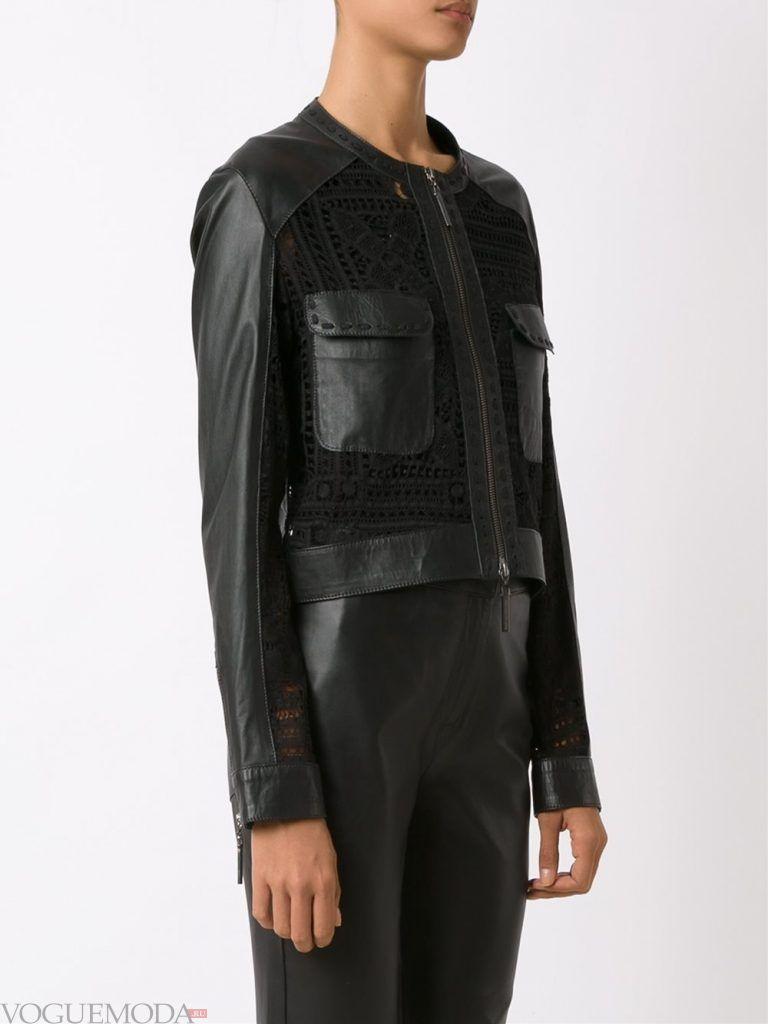 модная кожаная куртка с кружевом