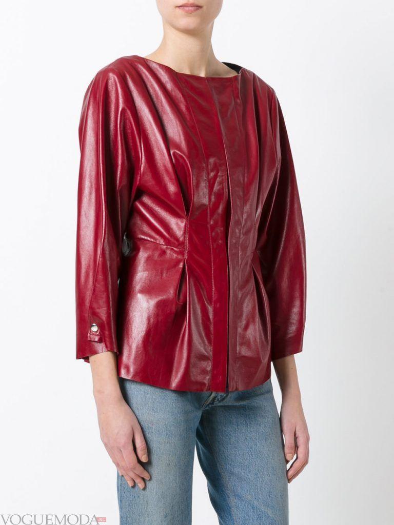 модная кожаная куртка бордовая