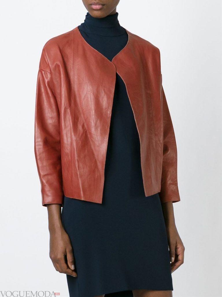 модная кожаная куртка коричневая