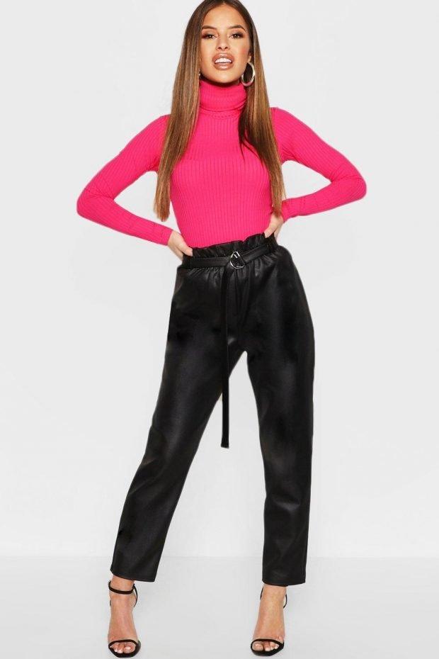Женские брюки осень зима 2019 2020: кожаные с поясом