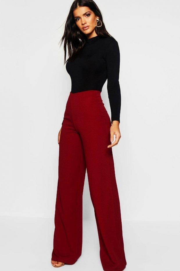 Женские брюки осень зима 2019 2020: бордовые широкие