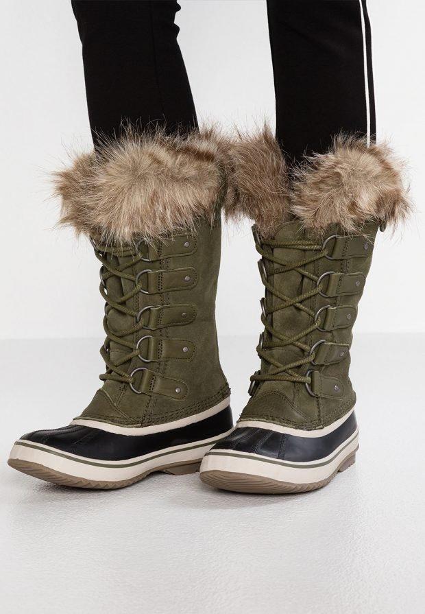 высокие зимние ботинка цвета хаки с мехом