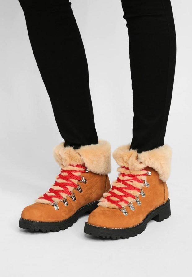 коричневые низкие зимние ботинки красный шнурок с мехом
