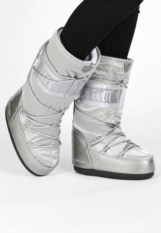 высокие серебряные угги шнурованные
