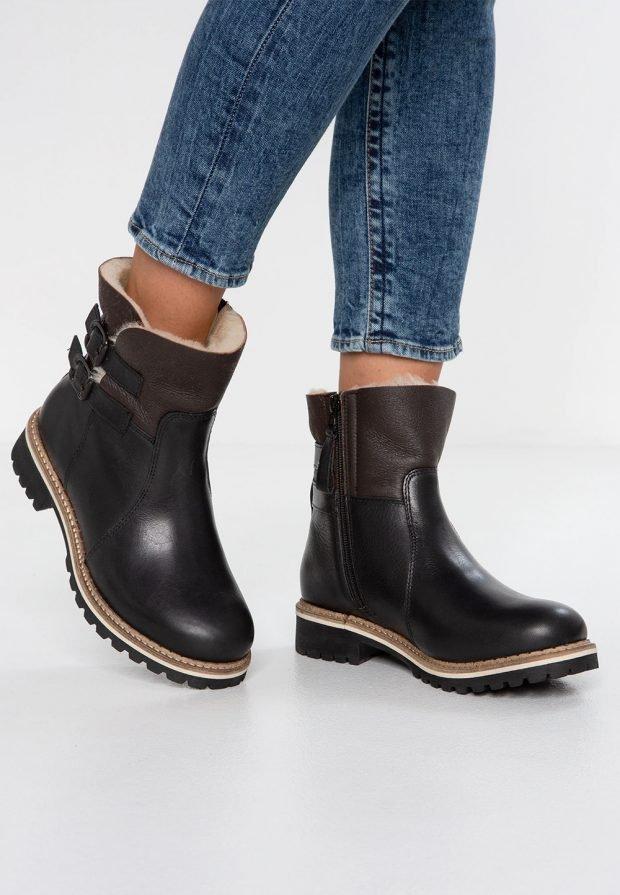 черные зимние ботинки на молнии и ремешке