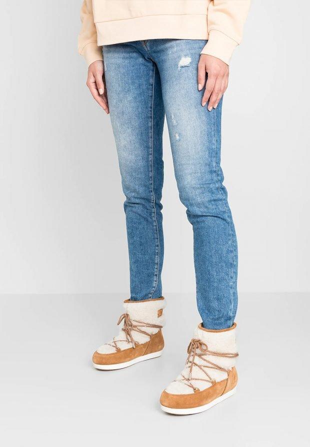 коричневые зимние полуботинки на шнурке