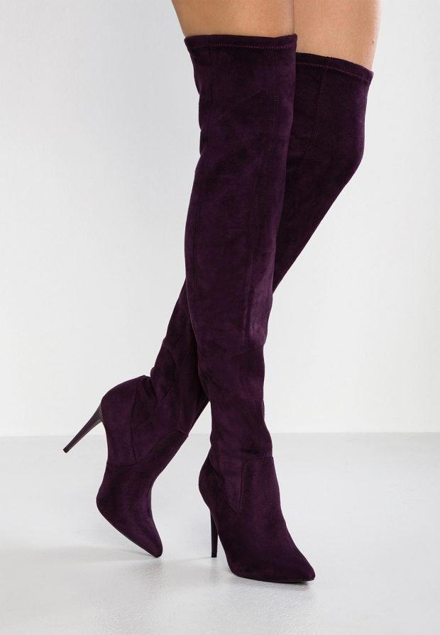зимние фиолетовые ботфорты на шпильке