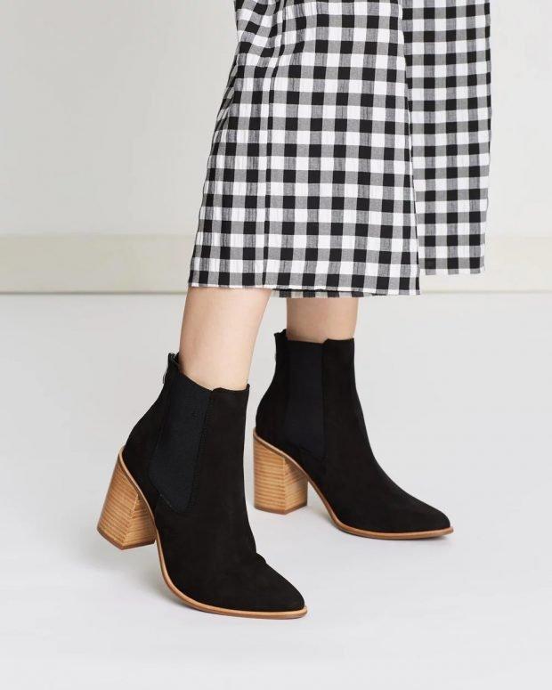 черные зимние сапожки коричневый каблук