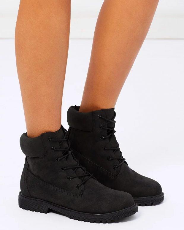зимние ботинки черные замшевые на шнурках