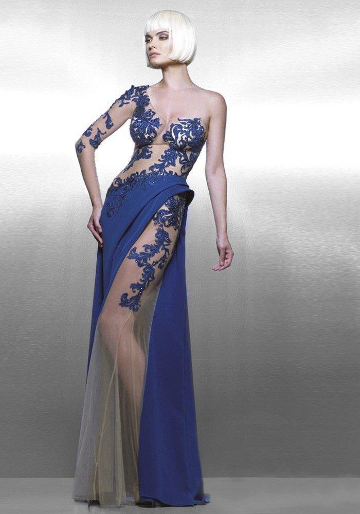 голое платье из кружева синее