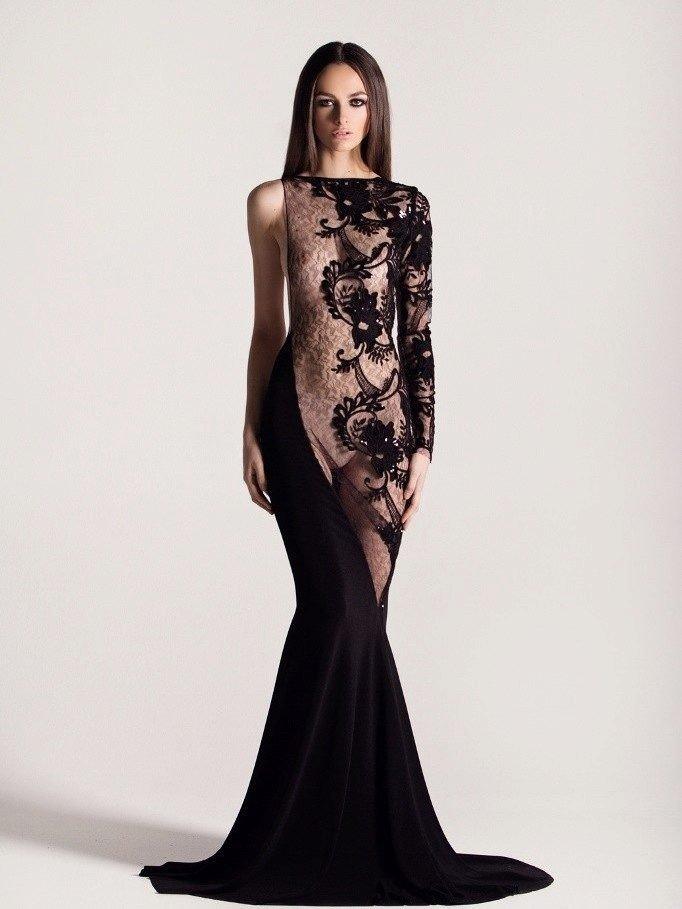 голое платье из кружева комбинированное