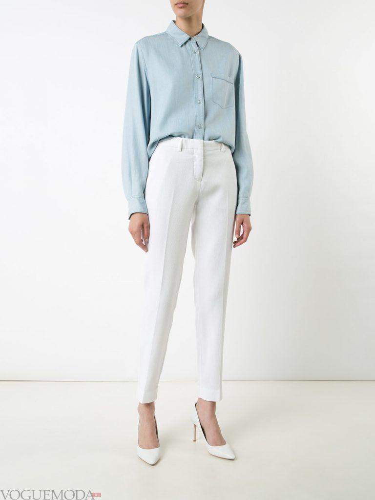 женские брюки 7/8 белые