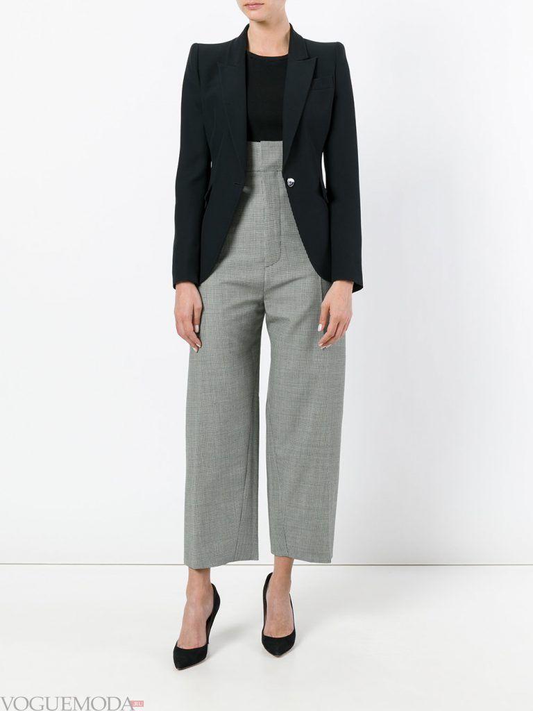 брюки с высокой посадкой серые