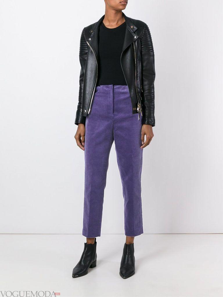 брюки с высокой посадкой фиолетовые