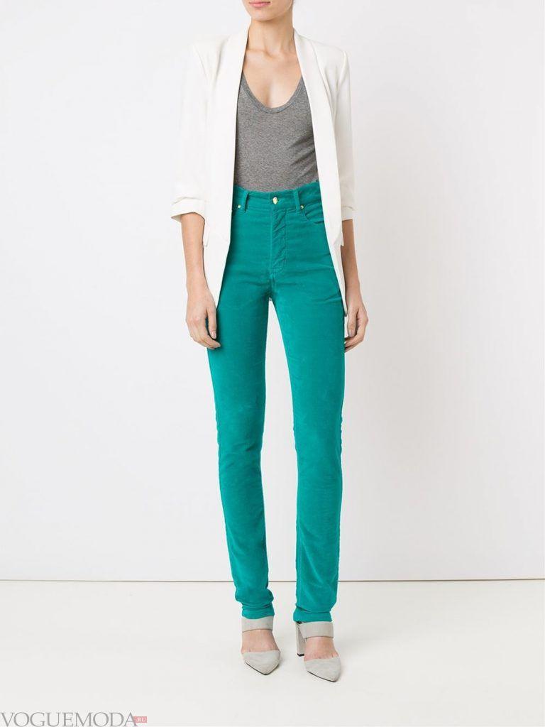 брюки с высокой посадкой мятные