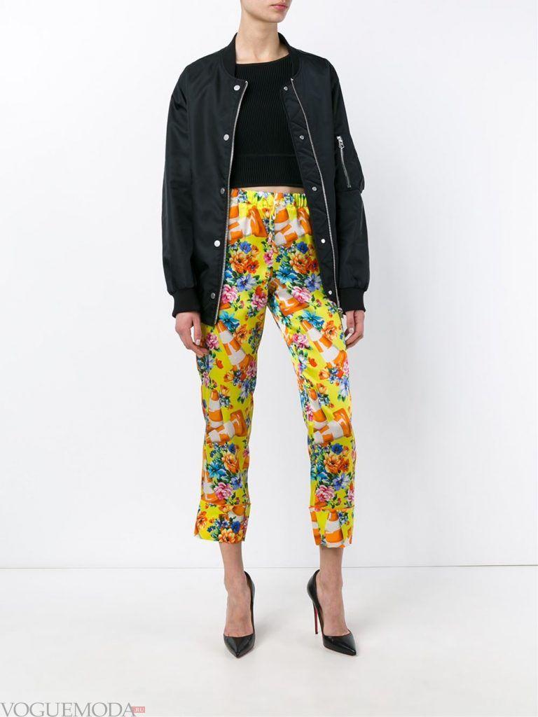 брюки с высокой посадкой и принтом