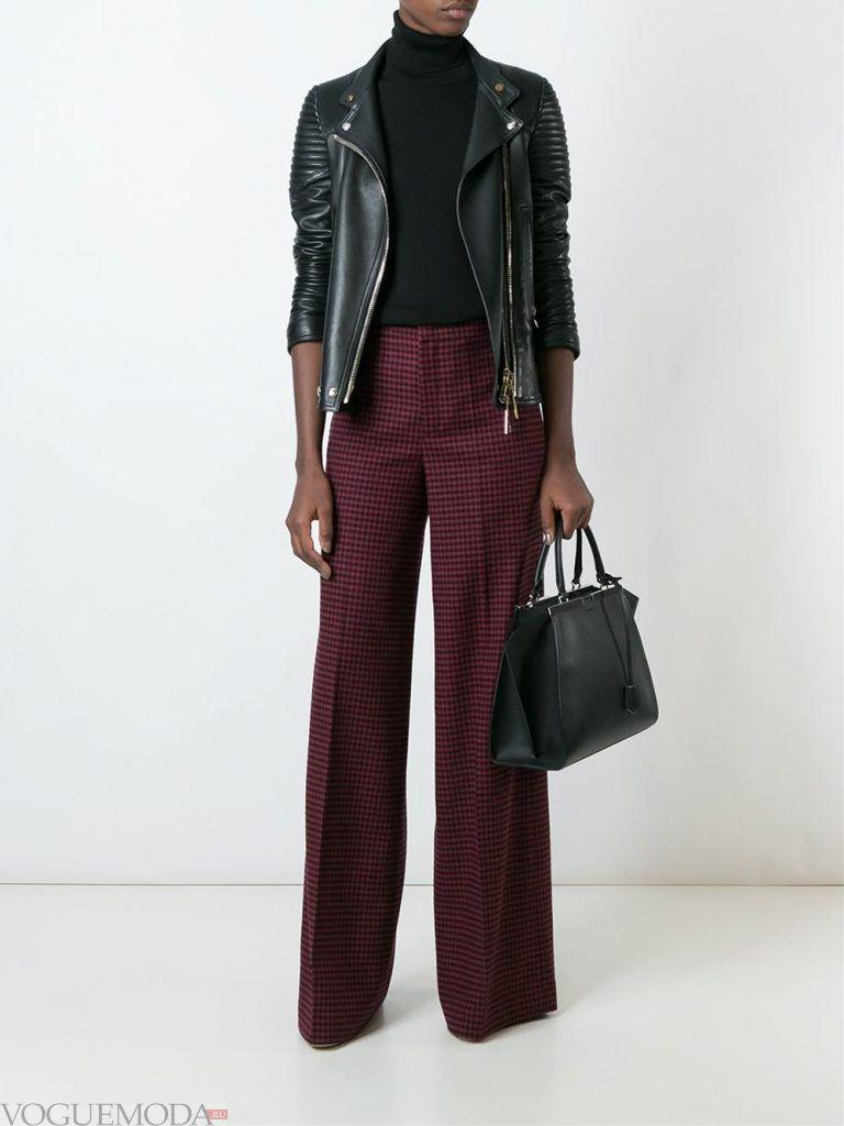 брюки с высокой посадкой бордо